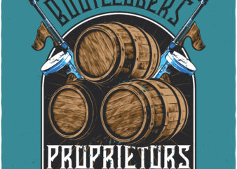 Proprietors and moonshine distillers. Editable t-shirt design.