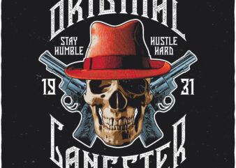 Original Gangster. Editable t-shirt design.