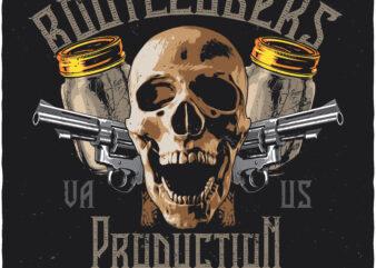 Bootleggers. Editable t-shirt design.