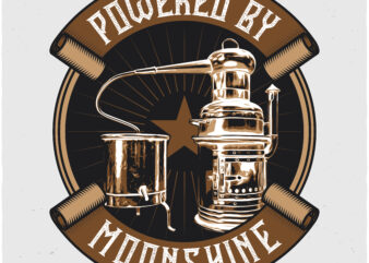 Powered By Moonshine. Editable t-shirt design.