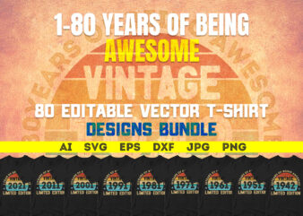 1 to 80 Years Being Awesome Vintage Limited Edition 80 Editable T-shirt Designs Bundle