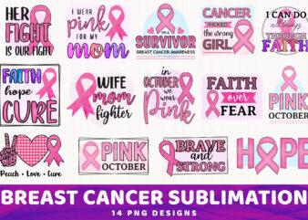 Breast Cancer Sublimation Bundle, 14 PNG Designs