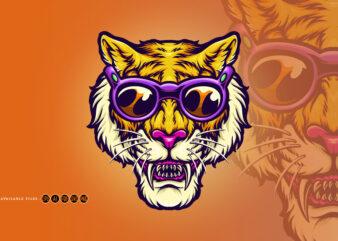 Cool Head Tiger Summer Vacation Holiday