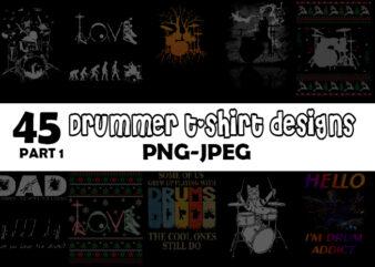 Drummer Bundle Part 1 – 45 tshirt design – 90% OFF