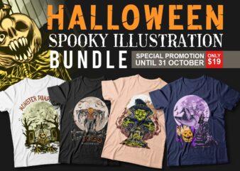 Halloween spooky Illustration t-shirt designs bundle. Halloween theme, Monster pumpkin, Scary, horror, Halloween artwork vector, Halloween witch