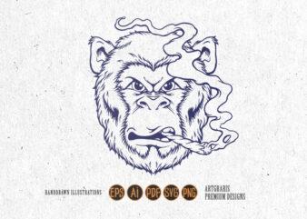 Monkey Stoner Cannabis Silhouette