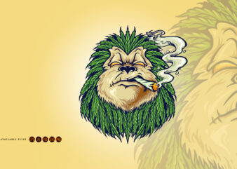 Monkey Weed Smoke Leaf Marijuana Mascot
