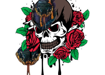 Rose and skull T-shirt design, T-shirt design of rose and skull, Horror Skull, Scary Skull, Skull, Rose, Snake, Sugar skull, Skull vector, Skull Png, Rose vector, Rose Png, Snake vector, Snake Png, Halloween, Tshirt Designs, tshirt template, Tshit Designs bundle, Unique