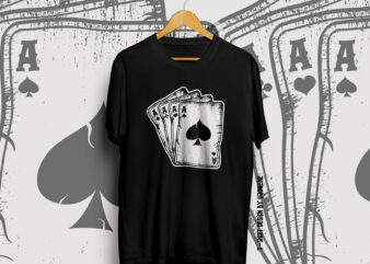 Play cards, Play cards vector, Poker, poker t-shirt design vintage