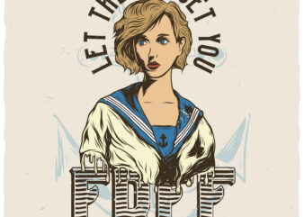 Let The Sea Set You Free. Editable t-shirt design.