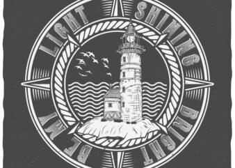 Lighthouse. Editable t-shirt design.