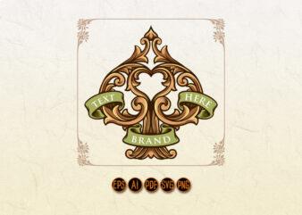 Spade Card Ornament Frame Banner