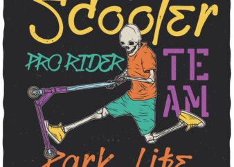 Scooter Pro Rider. Editable t-shirt design.