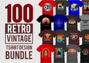 100 retro vintage t shirt design bundle