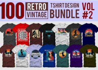 100 retro vintage t shirt design bundle vol 02