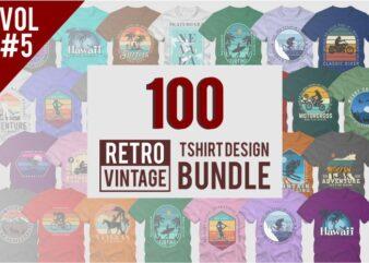 100 retro vintage t shirt design bundle vol 05