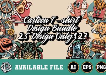 25 cartoon t-shirt design bundle