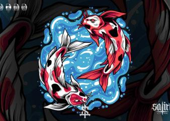 Yin Yang Koi Fish Illustration