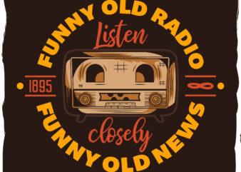 Radio funny face t-shirt design