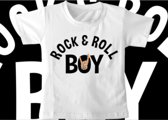kids t shirt design svg funny rock and roll boy typography graphic vector