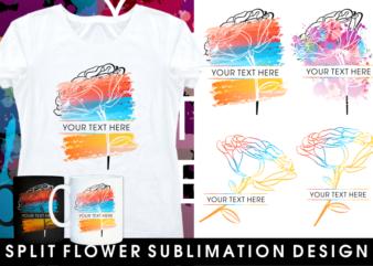 split flower monogram sublimation t shirt design