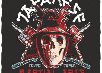 Japanese Martial Arts. Editable t-shirt design.