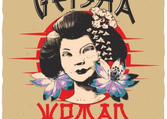 Geisha. Editable t-shirt design.