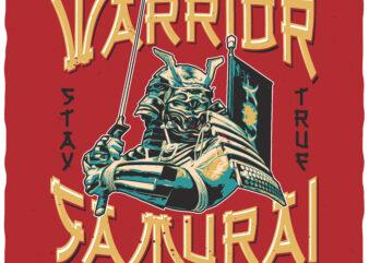 Fearless Warrior. Editable t-shirt design.