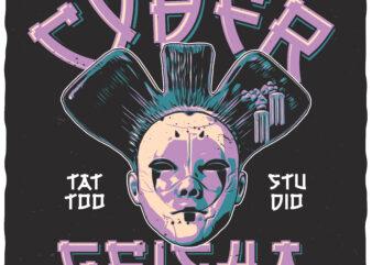 Cyber Geisha. Editable t-shirt design.