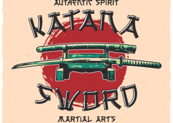 Katana Sword. Editable t-shirt design.