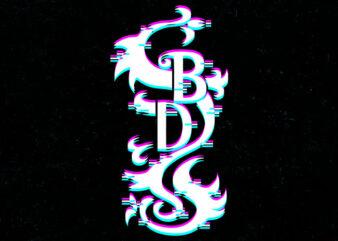 black d glitch logo