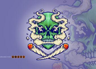 Skull Smoking a Marijuana Cloud