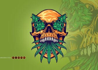 Head Skull With Kush Illustrations