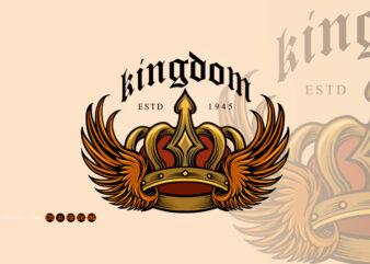 Kingdom Elegant Gold Crown and wing Illustrations