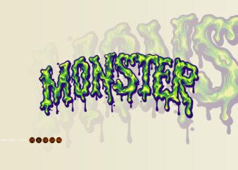 Melted Monster Font Hand Lettering