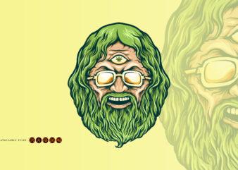 Vintage Head Cannabis Man Kush Illustrations