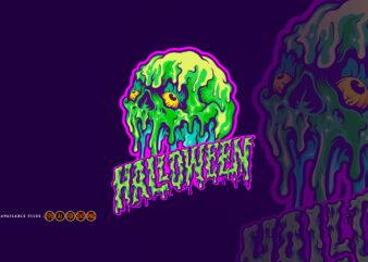 Skull Melting Halloween Text Illustrations