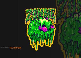 Skull Zombie Melt Cartoon