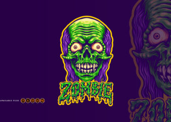 Spooky Zombie Head and Text Illustrations