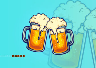 Beer Glass Two Party Joint Illustrations