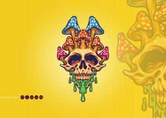 Fungus Skull Psychedelic Melt Illustrations