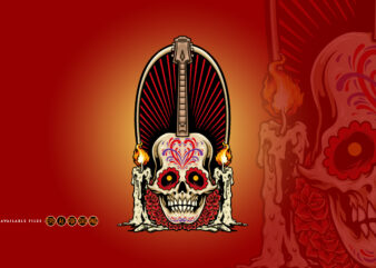 Guitar Mexican Skull With Candles Roses