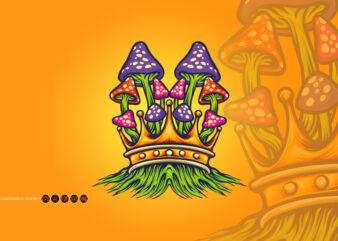 King Mushrooms Oyster Logo Illustrations