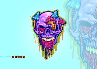Magic Trippy Skull Mushroom Psychedelic Illustrations