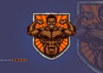 Gym Muscular Fitness Shield Logo