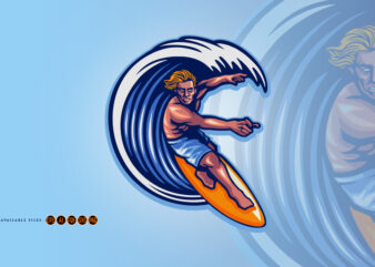 Surfing man Summer Extreme Logo