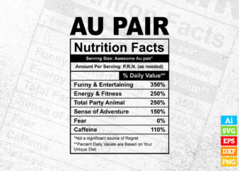 Au pair funny nutrition facts editable vector t-shirt design in ai svg png printable files, pro au pair nutritional svg files for cricut