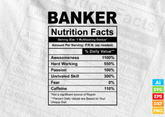 Banker funny nutrition facts editable vector t-shirt design in ai svg png printable files, Banker nutritional svg files for cricut