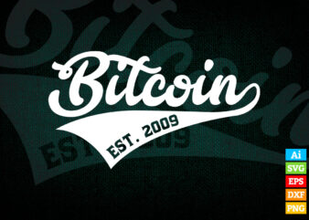 Bitcoin Est. 2009 Trader Investor editable vector t-shirt design in ai eps dxf png and BTC Cryptocurrency svg files for cricut