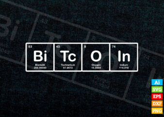 Bitcoin Periodic Table editable vector t-shirt design in ai eps dxf png and BTC Cryptocurrency svg files for cricut